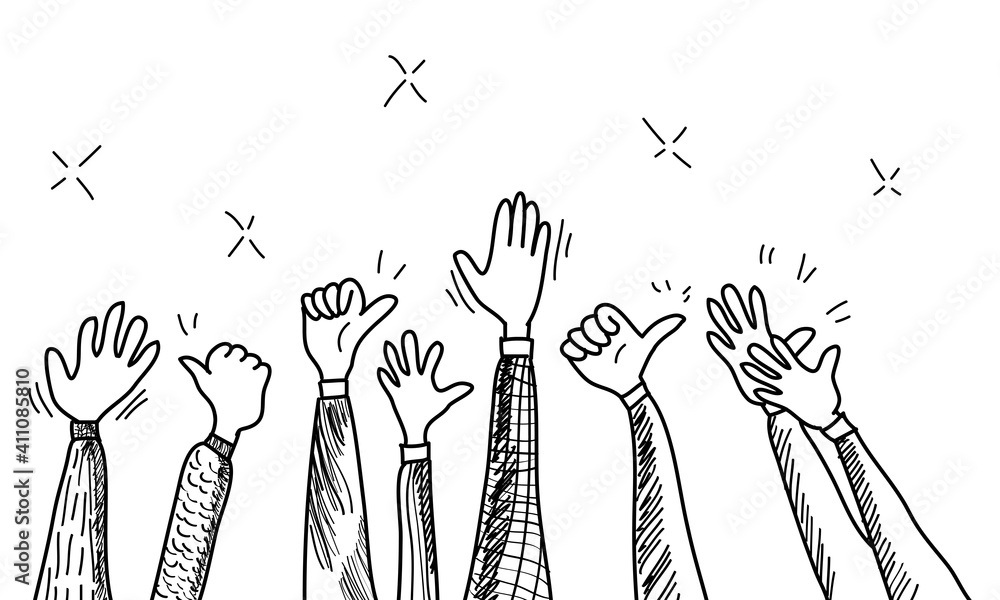 Fototapeta hand drawn of hands clapping ovation. applause, thumbs up gesture on doodle style , vector illustration