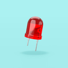 Red Led Diode On Blue Background