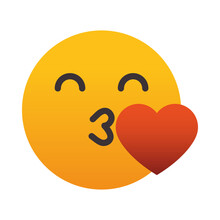 Emoji Face Blowing A Kiss, Colorful Design