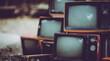 Leinwandbild Motiv Pile Of Old Analog Television