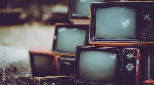 Obraz Pile Of Old Analog Television - fototapety do salonu