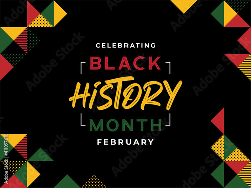 African-Americans Black history month lettering with colorful triangle pattern background vector illustration