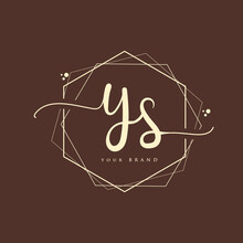 YS Initial Handwriting Logo. Hand Lettering Initials Logo Branding, Feminine And Luxury Logo Design.