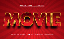3D Luxury Red Movie Text Style Effect, Editable Text Effect