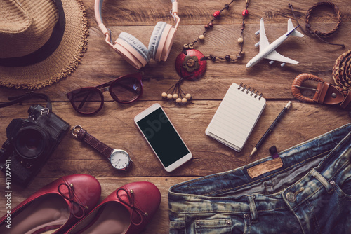 Fototapeta High Angle View Of Various Objects On Table obraz
