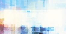 Sky, Copy Space, Watercolor Style Digital Texture. Light Random Grunge Rectangles, Irregular Gradients