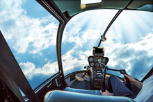 Digital Composite Image Of Man Flying Helicopter In Sky