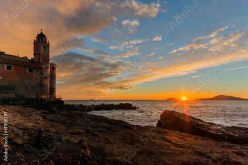 Tellaro al tramonto, Lerici, Liguria Fotobehang