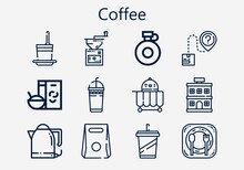 Premium Set Of Coffee [S] Icons. Simple Coffee Icon Pack. Stroke Vector Illustration On A White Background. Modern Outline Style Icons Collection Of Food Cart, Restaurant, Canteen, Breakfast