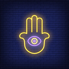 Hamsa Hand With Eye Neon Sign