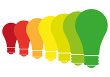 Iconos De Bombilla Representando La Eficiencia Energética.