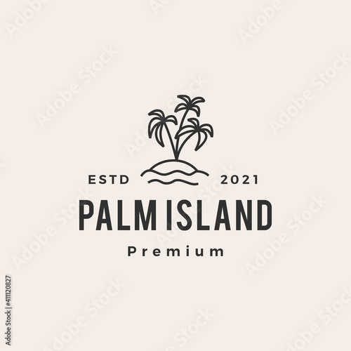 Fotografering palm tree island hipster vintage logo vector icon illustration