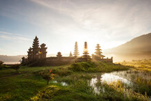 Morning View At Tamblingan Lake, Singaraja Bali. This Lake Part Of Twin Lake In North Of Bali. Here Have A Hindu Temple. This Place Very Beautiful When You Come In Sunrise Time