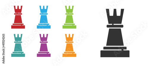 Fotografía Black Chess icon isolated on white background