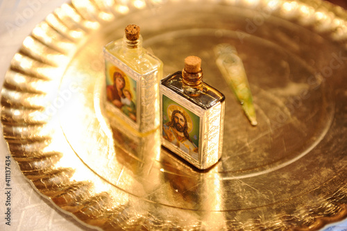 Fotografija The myrrh bottle used by priests to anoint the child during the baptismal service