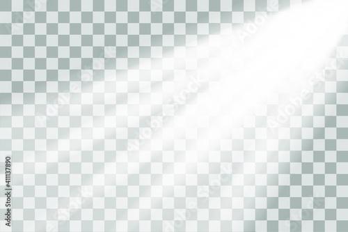 Obraz Shining sun glare rays, lens flare vector illustration. Sunlight glowing png effect. White beam sunrays sky background - fototapety do salonu