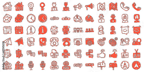 Obraz Contact us icon set in comic style. Mobile communication cartoon vector illustration on white isolated background. Phone call splash effect business concept. - fototapety do salonu