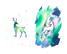 Watercolor Abstract Splashes Silhouettes Pair Of Deers. Hand Drawn Illustration