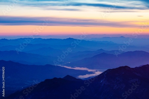 Fototapety, obrazy: Scenic View Of Silhouette Mountains Against Sky During Sunset