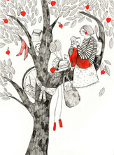Girl Sitting On Top Of The Tree And Reading A Book