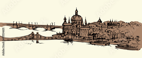 Photo Hungarian Parliament Building. Vectos drawing scene