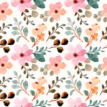 Seamless Pattern Of Pink Wildflowers With Watercolor