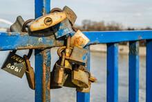 Novi Sad, Serbia - March 16, 2019: Locked Padlock Of Love On A Bridge In Novi Sad