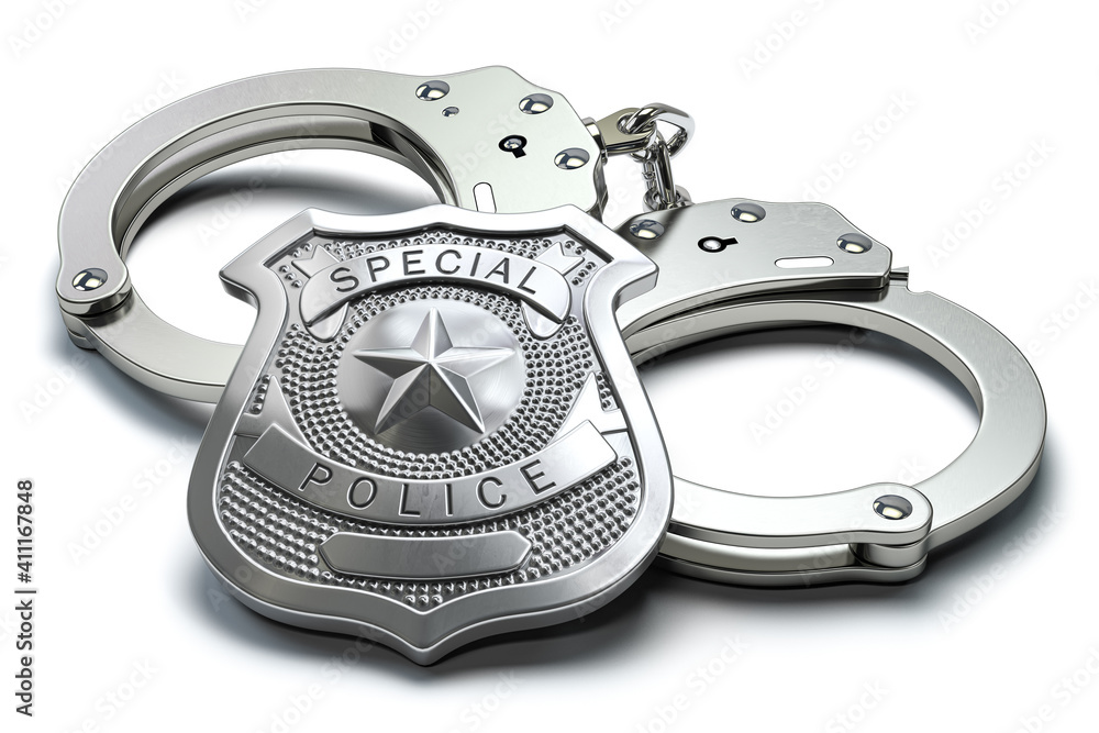 Fototapeta Special police badge and handcuffs isolated on white background. Law enforcement amd security.