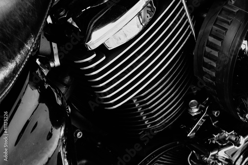 Canvas Print Motorcycle engine with chrome details, close-up