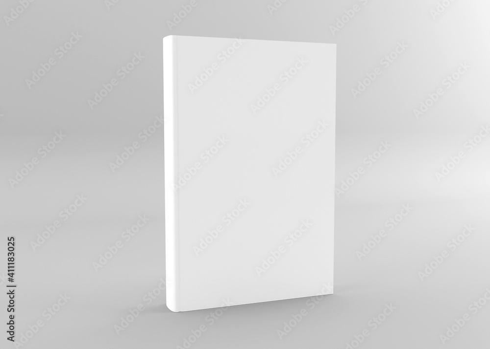 Fototapeta Hardcover book mockup. Book, brochure, magazine  cover template. 3d rendering book mockup isolated gray background.