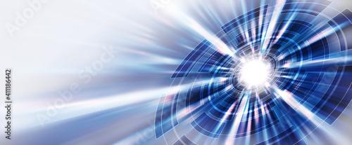 Obraz 抽象的な背景、サイバー、文字なし、青 - fototapety do salonu
