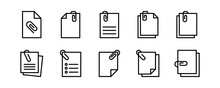 File Attachment Icon Set. Vector Graphic Illustration. Suitable For Website Design, Logo, App, Template, And Ui.