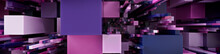 Multicolored 3D Block Background. Tech Wallpaper With Purple And Pink Colors. 3D Render