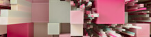 Multicolored 3D Block Background. Tech Wallpaper With Pink And Tan Hues. 3D Render