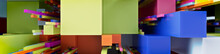 Multicolored 3D Block Background. Tech Wallpaper With Vibrant Colors. 3D Render