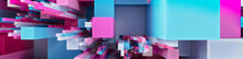 Multicolored 3D Block Background. Tech Wallpaper With Pink And Blue Hues. 3D Render