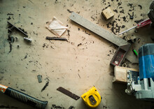 High Angle View Of Work Tools On Table