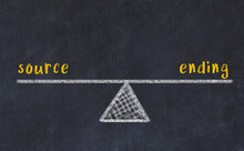 Concept Of Balance Between Source And Ending. Chalk Scales And Words On It