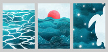 Creative Aesthetic Posters In Japanese Vintage Style. A4 Vertical Illustrations. Set Of Three Backgrounds With Watercolor Texture And Traditional Pattern, Thin Lines, Sea, Sun, Waves, Turtle.