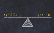 Concept Of Balance Between Specific And General. Chalk Scales And Words On It