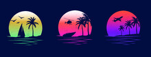 Beaches, Yachts And Surfing. Miami California Hawaii Design. Old School Tattoo Vector Art. Red Sunsets With Sillhouettes | Vector Graphics For Apparel T-shirt