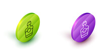 Isometric Line Tequila Bottle Icon Isolated On White Background. Mexican Alcohol Drink. Green And Purple Circle Buttons. Vector.