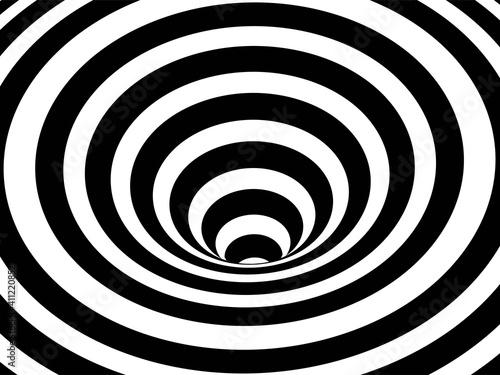 Fototapeta premium Striped crater on white background. Black stripes on modern circular geometric shape design vector illustration. Graphic optical illusion vortex effect