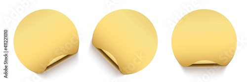 Obraz Gold glued round stickers with golden back side curling set. 3d circular shaped blank paper labels vector illustration. Badges with shining peel effect - fototapety do salonu