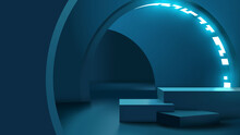 Realistic Modern Platform Or Podium For Product Presentation Template. Sci Fi Neon Glowing Futuristic Corridor Vector Illustration