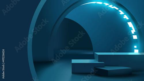 Fototapeta Realistic modern platform or podium for product presentation template