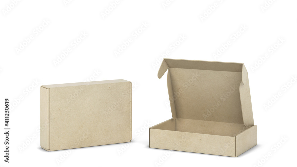 Fototapeta Blank tuck in flap packaging box mockup