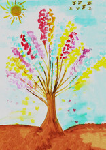 Colorful Tree Leaves Grow Up Under Sunshine And Birds Flying On Sky.Painting With Watercolor On Paper.