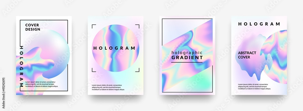 Fototapeta Holographic posters. Gradient minimal iridescent foil graphic mesh, neon purple and pink 90s trendy effect. Vector abstract hologram cover collection, pearlescent horizontal minimal background set