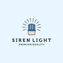 Siren Light, Emergency Light, Ambulance Light, Police Light Or Warning Light Logo Vector Illustration Design. Blue Flasher Or Siren Light Vintage Style Illustration. Emergency Light Logo Concept